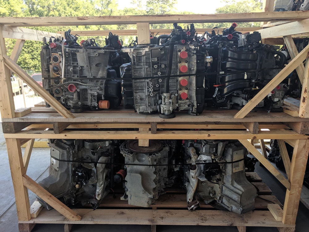 "In every 5' of the container: we can get 27 4cylinders, 18 ""V"" engines, 30 4x4 transmissions with transfer cases still bolted, 50+ rear wheel drive transmissions, or 60+ front wheel drive transmissions. All product drained, trimmed, plugged and washed. Laid out on dock in reverse packing order. Ready to load as fast as you can run in and out of the container."
